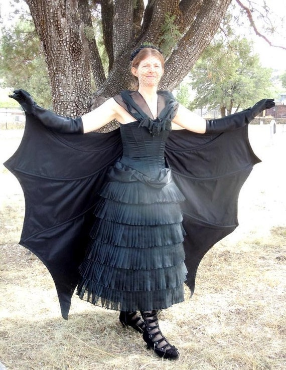 Steampunk Dresses | Women & Girl Costumes 1887 French Bat Costume Pattern EvaDress $28.00 AT vintagedancer.com
