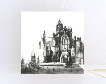 St Giles' Cathedral, Royal Mile, Edinburgh, Scotland - Greeting Card