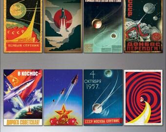Vintage Sputnik Atomic retro soviet space race poster fridge magnets set of 8