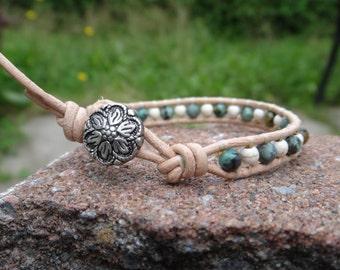 Turquoise, Magnesite Leather Wrap Bracelet. Simple wrap beaded leather bracelet. Gemstone ant leather wrap bracelet African turquoise