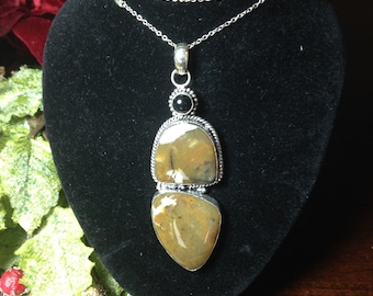 Beautiful Handcrafted Jasper Sterling Silver Pendant With Free Chain
