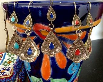 Handmade Hippy Boho Afghani Turkoman Tribal Gold Metal Dangly Earrings with Gemstone Accents