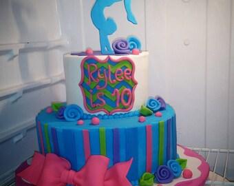 Handmade Edible Fondant Dancing Gymnast Cake Topper Set