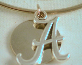 Alabama Silver Tone Bangle, Inspired by Charm Bracelet, Roll Tide, school spirit, Crimson Tide, A, AL, game day fashion