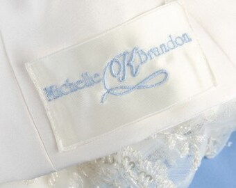 Custom Embroidered First Names and Initial Wedding Dress Label Something Blue