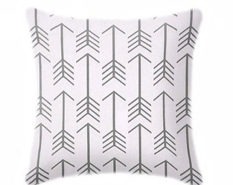 Pillow Cover, Decorative Pillows, Arrow Cool Grey Pillow Cover, Hidden Zipper, Tribal Pillow, 13 Sizes Available, Gray White Cushion Cover