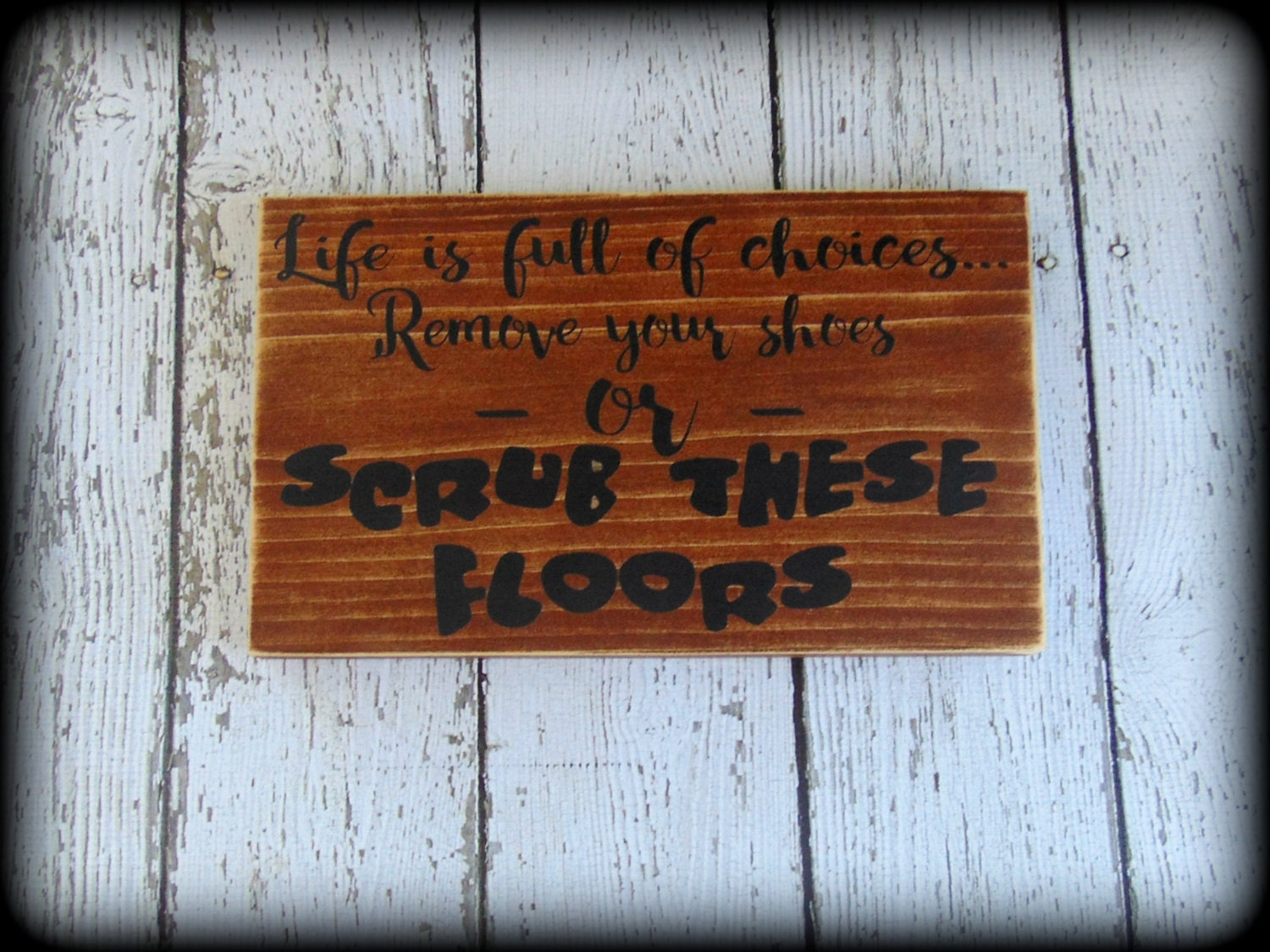 Funny Sign Rustic Wooden Decor Housewarming Gift Bridal