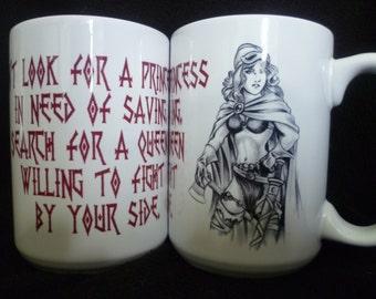 Mug Female Warrior Slogan Mighty Mug, Cider Mug, Medieval, Coffee Tea Mug, Warrior, larp, Princess Queen