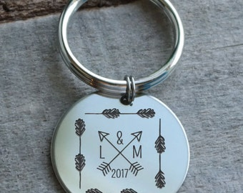 Arrows and Twigs Personalized Key Chain - Engraved