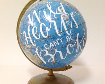 Hand Painted VINTAGE Globe