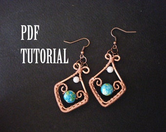 Tutorial earrings, tutorial in handmade, tutorial earrings in handmade, wire wrapped tutorial, wire earrings tutorial, pdf tutorial