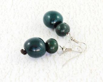 Dark Green Earrings - Fair Trade Jewelry - Chunky Earrings - Tropical Earrings - Eco Friendly Earrings - Exotic Earrings - Acai Beads 3360