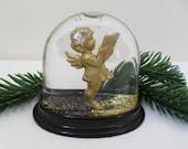 SNOW GLOBE Vintage GERMAN Christmas Decoration Gold Glitter Snow Globe Carol Singing Golden Cherub Collectible Kitsch Xmas Decor Retro Xmas