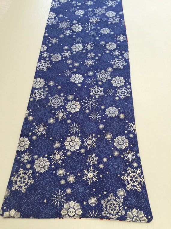 Blue Table Runner Silver Snowflakes Winter Decor Blue