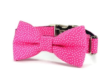 Pink Polka Dot Dog Bow Tie Collar, Pink Bow Tie For Dog, Pink Bow Dog Collar, Polka Dot Dog Collar, Girl Bow Tie Collar, Pink Dog Bow Tie