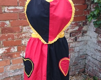 Handmade Custom Alice in Wonderland Queen of Hearts Apron Fancy Dress Cosplay