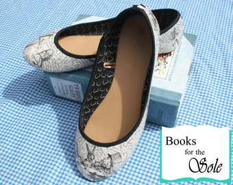 Custom Alice In Wonderland Decoupage Literary Ballerina Pumps/Flats
