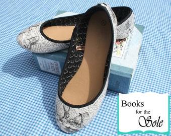 Custom Alice In Wonderland Decoupage Literary Ballerina Pumps/Flats