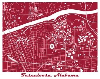 University of Alabama Map Art Print, Tuscaloosa Alabama Map Print