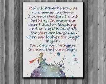 Little Prince quote Painting - Art Print, instant download, Watercolor Print, poster