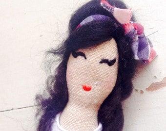 Amy Winehouse Doll. Cloth Doll. Art Doll. Icon Doll.
