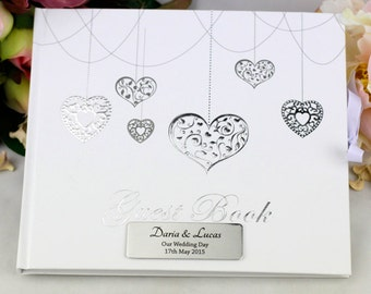 Personalised Wedding/Engagement Hearts Guest Book