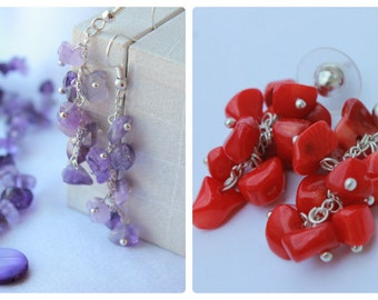 Zodiac Jewelry Red Coral chips earrings Red earrings Colorful earrings Amethyst earrings Gemstone Dangle Earrings Healin Boho Earrings