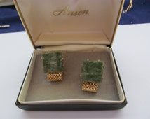 Vintage Green Marble Anson Cuff Links