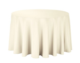 Awesome 108 Inch Polyester Ivory Round Tablecloth