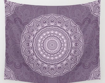 Wall Tapestry - 'Lace Mandala on Light Lavender' - Home,Decor, Wall,Modern, Home Warming Gift, Symmetry, Harmony, Bohemian, Boho, Hippie