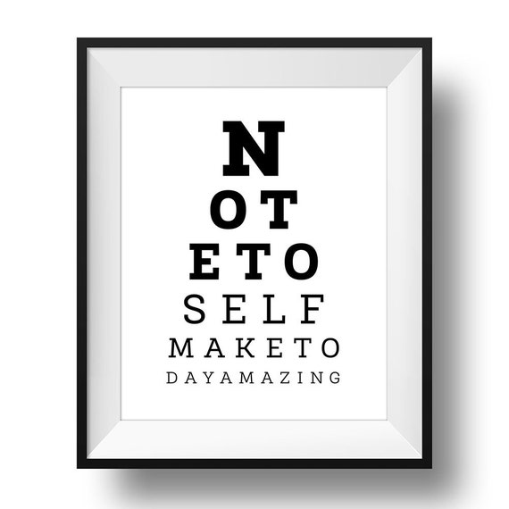 Eyesight Test Print, Printable Wall Art, Inspirational Typography Print, Minimalistic Print, Digital Print, Black And White INSTANT DOWNLOAD