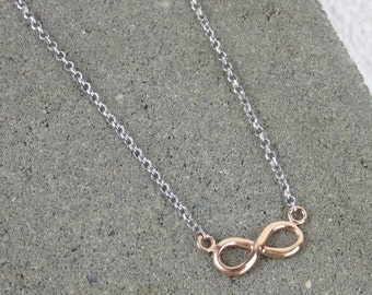 Infinity/Eternity Necklace - Silver & Rose Gold