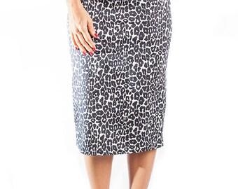 Black Leopard print pencil skirt