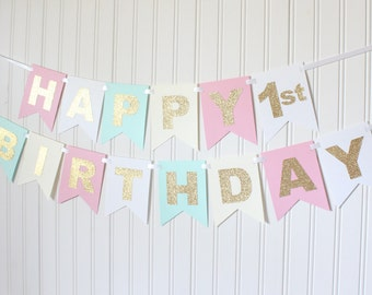 Gold, Pink, White, Mint, Ivory Happy Birthday Banner/ Girl Birthday/ Princess Party/ Party Decorations/ Custom Name/ Personalized
