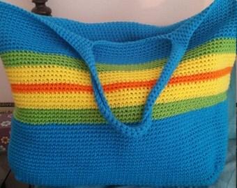 Handmade crochet beach tote