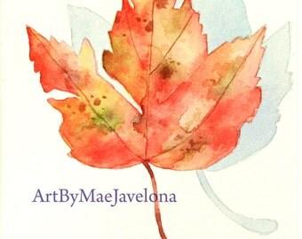 "Maple Leaf, Original Watercolor Illustration, 4""X6"""