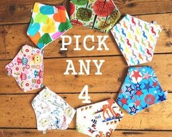 Baby Bandana Bib, Dribble Bib, Pick Any 4, Handmade baby Bibs with Bamboo Terry Towelling, Baby to Toddler, Ready to Ship