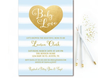 Boy Baby Shower Invitation Blue and Gold Heart Baby Love - Printable Invites