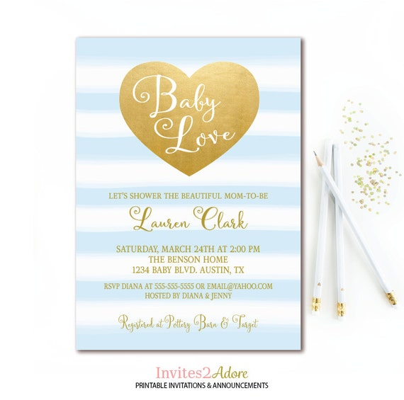boy baby shower invitation blue and gold heart baby love printable