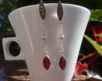 Earrings with Garnet in 925 Silver, long and beautiful!