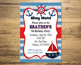 Nautical Invitation, Printable Sail Boat Red And Blue Nautical Theme Birthday Party Invitation, Digital or Printed