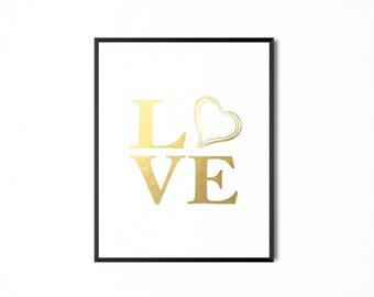 REAL GOLD FOIL Love Print Gold Foil Print