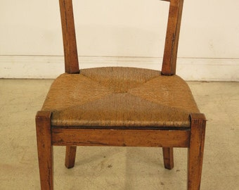 40245E:  GUY CHADDOCK Rustic Distressed Rush Seat Side Chair