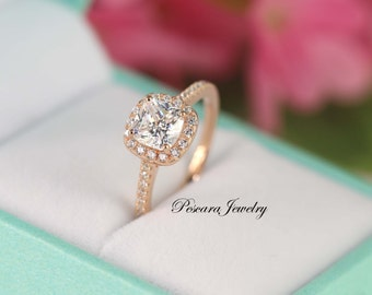 1.3 ct.tw  Rose Gold Engagement Ring - Cushion Cut Ring - Halo Ring - Bridal Ring - Rose Gold Ring - Sterling Silver Ring