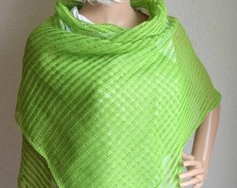 Hand knitted LINEN women's shawl