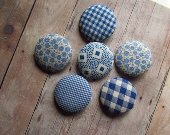 Set of 6 Handmade Buttons - Made From Blue Feedsacks - Floral and Gingham - Size 60