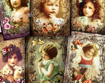 Digital Collage Sheet, Printable Cards, Paper goods, vintage antique greeting cards, Scrapbooking, Instant Download - VICTORIAN KIDS