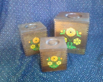 Adorable 1960-70s Wood Set of 3 Canisters with Flowers