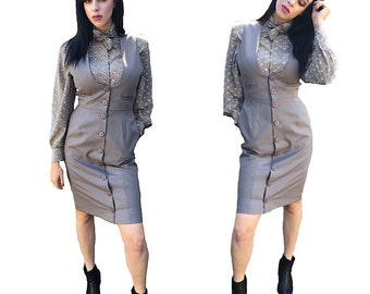 60's Grey Pencil button up Dress by Harve Bernard Holtzman professional office regal womens vintage sleeveless pockets hipster fully lined