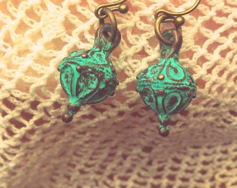 Patina Gypsy Lantern Boho Earrings